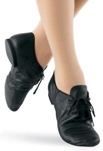 Capezio EJ1 Split Sole Leather Jazz Shoe - Black - Children - Size UK 11 & 12