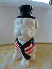 Tirelire chien boxer bulldog Oncle Sam avec chapeau et drapeau américain