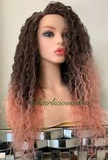 Pink Wig Afro Kinky Curly Lace Top 24 Inch Long Heat Resistance Ok Ombré