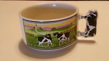 Artmark Soup Cup Chicago LTD White Ceramic Cow Handle Black White Cow Coffee Cup