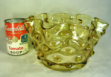 "8-1/2"" Antique Honey Amber Art Glass Hobnail Gas Oil Lamp Ruffled Shade 5"" Fitte"