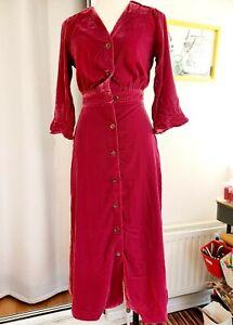 La Redoute Raspberry Pink Velvet Midi Dresss Size 6