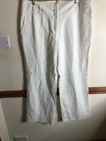 BNWT Next Tailored 100% Linen High Waisted white Trousers - UK 18 Long