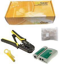 UbiGear® Network Tester +Crimp Crimper + 100 RJ45 CAT5e Connector Plug Tool Kits