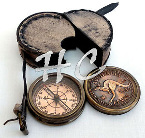 AUSTRALIA KANGAROO Copper Dial Antique Brass Compass PENNY 1930 Wth Leather Case