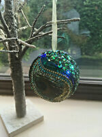 Peacock Feather Large Hanging Christmas Bauble - Sequins, Glitter, Beads,Feather
