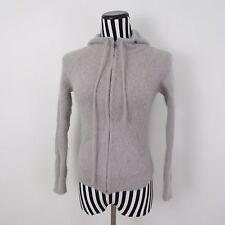 Moda International Grey Hooded Full Zip Angora Rabbit Hair Sweater Size S