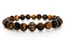 Handmade Semi Precious Stone Bracelet w/ Tigers Eye Beads & Brass Pumpkin Charm