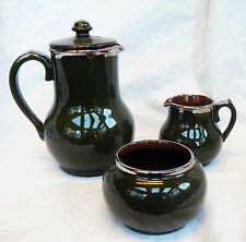 VINTAGE epoca Art Deco Verde Oliva pottery tea set-Pot, Sugar & Latte-SUPERBA