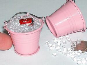 1Pc Large Pink Kawaii Charm bead dollhouse Pink Metal Beach Pale Bucket