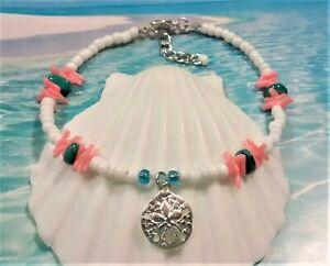 White & Coral Sand Dollar Anklet, Seashell Anklet, BoHo Beach Anklet, Anklets