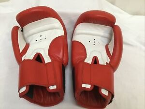 Red & White Leather Boxing Gloves 14oz VGC