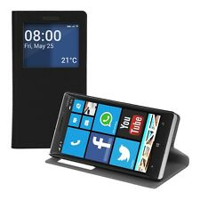 PLUS FLIP cover guscio protettivo per Nokia Lumia 930 NERA Case in Ecopelle