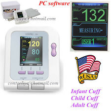 US Seller FDA Automatic Blood Pressure Monitor+Infant+Child+Adult Cuff,Software
