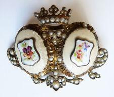 Broche de mariage en argent massif avec couronne armoiries 19e silver brooch
