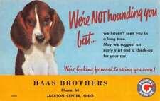 Jackson Center Ohio Haas Brothers Car Beagle Puppy Vintage Postcard K79781