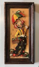 Vintage Thayer Clown Framed Art Picture 3D Frogs Rain Umbrella Home Decor