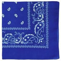 Royal Blue Paisley Bandana with White Design Pattern Both Side Neck Scarf
