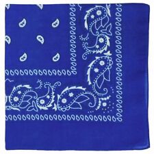 Royal Blue Paisley Bandana with White Design Pattern Both Side Neck Scarf