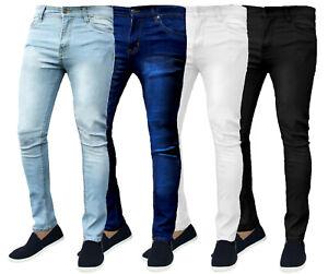 MENS SKINNY JEANS DENIM SUPER STRETCH SLIM FIT ALL WAIST & LEG SIZES BLACK BASIC
