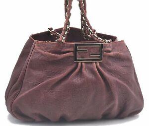 Authentic FENDI Mia Chain Shoulder Tote Bag Leather Bordeaux Purple C8373