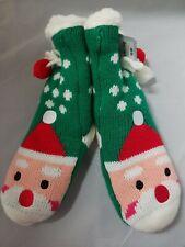 Cat & Jack™ Girls' Santa Slipper Sock -  Green Holiday Chrismas Size Small