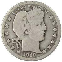 1912 Barber Quarter G Good 90% Silver 25c US Type Coin Collectible