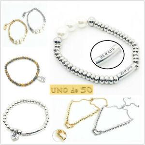 UNO de 50 Silver Beaded Padlock Logo Stainless steel Jewelry Pearl Bracelet Gift