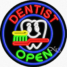 """BRAND NEW """"DENTIST OPEN"""" 26x26x3 ROUND REAL NEON SIGN w/CUSTOM OPTIONS  11136"""