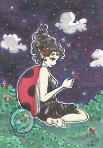 Blueberry Night Cartoon bug Fairy Summer Open Edition Fantasy ACEO art PRINT ejw