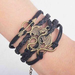 Game Of Thrones Dragon Daenerys Targaryen - Genuine Leather Bracelet UK Seller