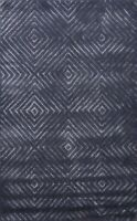 Navy Blue/Silver Modern Trellis Indian Oriental Area Rug Hand-tufted Carpet 4x6