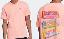 NEW MEN'S ADIDAS ORIGINALS SNACK TIME TEE SHIRT ~SIZE SMALL  #GE4665 GLOW PINK
