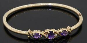 Rine 14K gold beautiful 1.80CTW diamond & amethyst hinged bangle bracelet