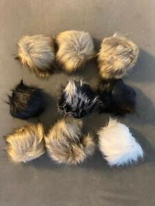 pom pom lot of 9 black brown white new mugwai