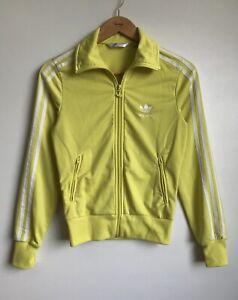 Vintage Adidas Women Yellow 3 Stripes Jacket Track Top Trefoil Logo Size 36