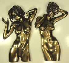 ** PAIR ** WALL PLAQUE Nude Female Statue Woman Torso Figurine Bronze Finish