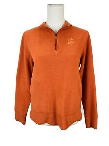 Life is Good Fleece Pullover Relaxed Fit 1/4 Zip Pockets Orange Size Small