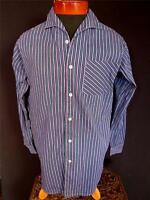 VINTAGE FRENCH 1950'S CURVED COLLAR LAVENDER & BLUE STRIPED COTTON SHIRT SZ MED