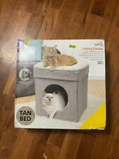 New listing Cat House Kitty City Stackable Folding Large Cat Bed Cat Cube Cat Condo, Tan.