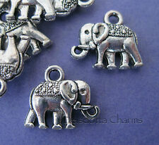 50 SMALL ELEPHANT CHARMS 12mm SILVER TONE JEWELLERY MAKING PENDANTS WHOLESALE J7