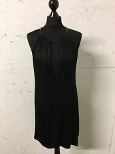 Gucci Tom Ford SS 2000 Black Open Front Chain Neck Dress Size 10 12 Stretchy