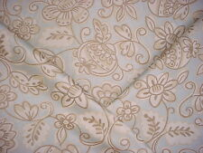 4-1/8Y STROHEIM ROMANN BLUE / BROWN FLORAL JACQUARD DRAPERY UPHOLSTERY FABRIC