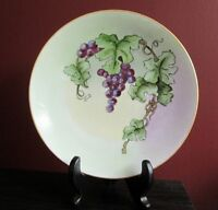 Hermann Ohme Porcelain PLATE HAND PAINTED STILL LIFE GRAPES VINE Artist SIGNED!