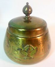 Vtg Egyptian Revival Art Deco Benedict Karnak Brass Covered Jar ISIS Goddess