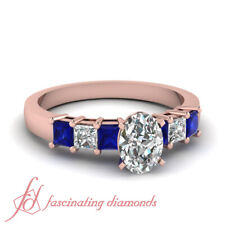 1.40 Ct Oval Shaped Natural Diamond Engagement Ring With Princess Blue Sapphire