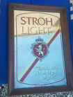 VINTAGE STROH LIGHT BEER MIRROR SIGN WOOD FRAME (VERY GOOD COMDITION) MAN CAVE