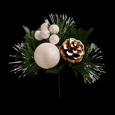 Christmas Glitter Ball, Berry Pine Cone Spray Stem - White