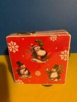 Set of 4 Penguin Ceramic Tile Cork Coasters Holder Christmas Holiday NIP