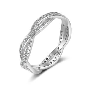 Luxurious White Gold Plated Braided Crystal Eternity Band Ring | US Seller